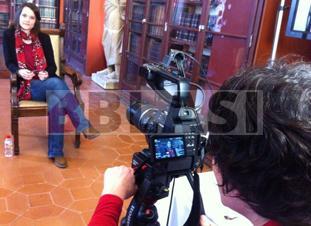 Gravant el reportatge per a la Galeria dels Oficis de BTV a l'Ateneu Barcelonès