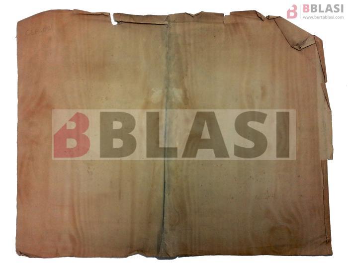 Revers d'un dibuix al pastel de Pere Clapera on es pot veure clarament com la fusta amb la què estava en contacte l'obra ha traspassat els àcids marcant tota la veta de la fusta.