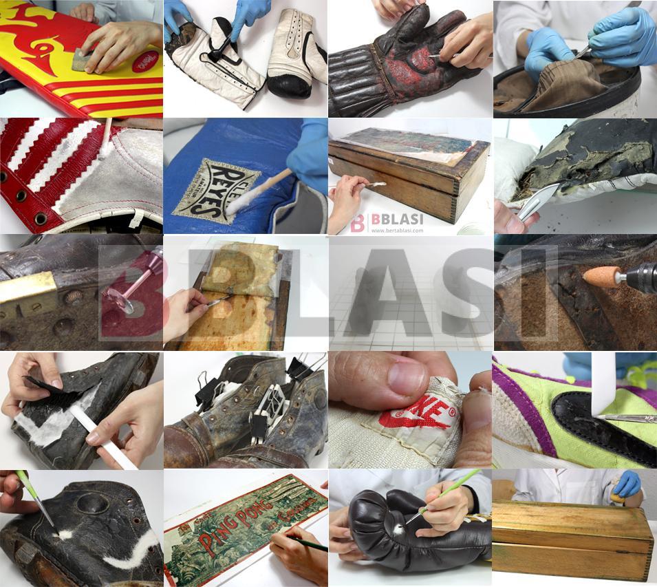 Procés de restauració de les pces de pell del Museu Olímpic i de l'Esport Joan Antoni Samaranch de Barcelona