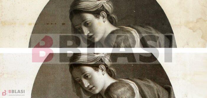 """Abans i després de la restauració de """"La Madonna del passero"""" de Guercino, on s'aprecia la desaparició de les taques"""