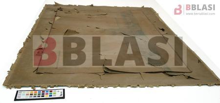 Estat del dibuix de Puig i Cadafalch després de treure'l del marc i abans del procés de restauració