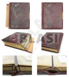 Les imatges de l'àlbum de fotografies abans i després de la restauració, on s'aprecia la neteja de la tela i la consolidació del llom on es va afegir una tela d'un color similar per a reforçar-lo.