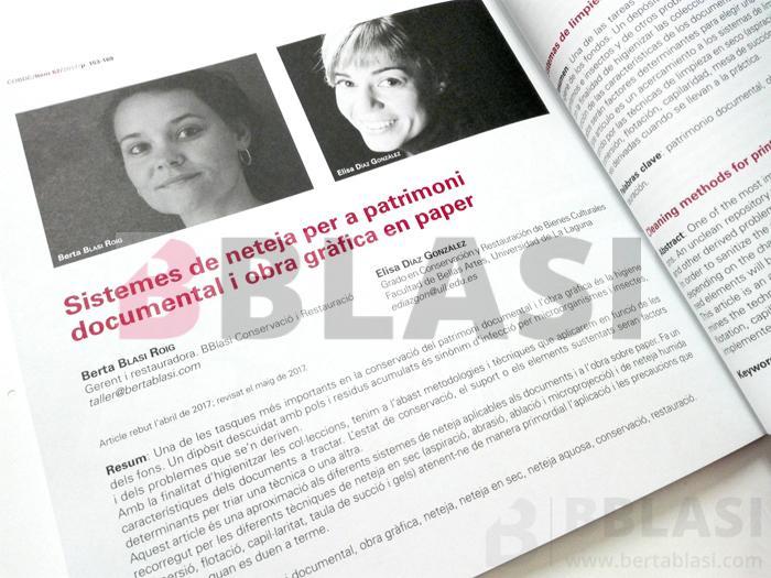 Ítem 62 : Sistemes de neteja per a patrimoni documental i obra gràfica en paper - Berta Blasi, Elisa Díaz