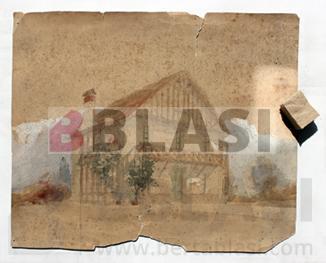 Procés de neteja en sec amb esponja de fum d'un dibuix de Puig i Cadafalch