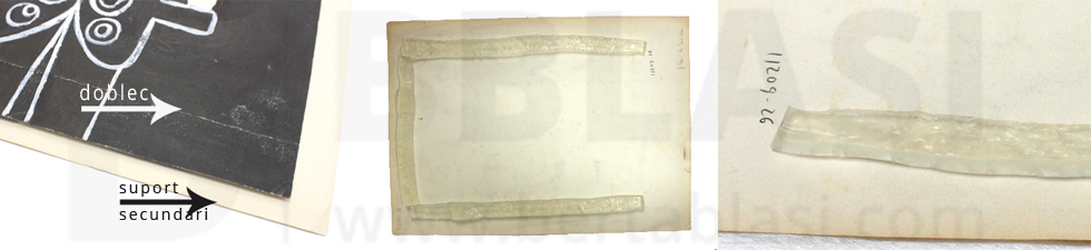 Procés de restauració del dibuix de Josep Maria de Sucre. Aplicació dels gels per tal de retirar el suport secundari de l'obra original.
