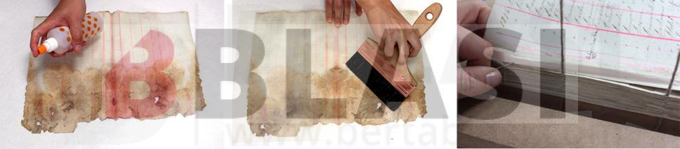 Llibre d'allistaments durant el procés de restauració. A l'esquerra la desinfecció dels microorganismes, al centre la laminació de les pàgines i a la dreta el cosit dels quadernets per tal de poder tornar a enquadernar.