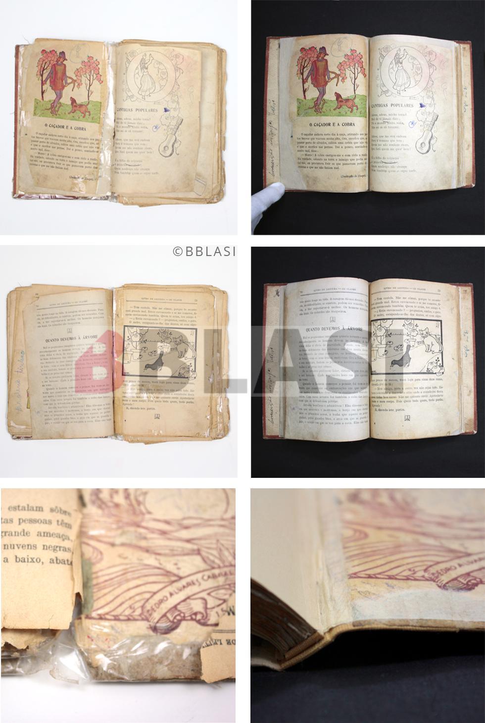 """Abans i després de la restauarció del """"Livro de leitura"""" de Joao Grave que estava ple de celos"""