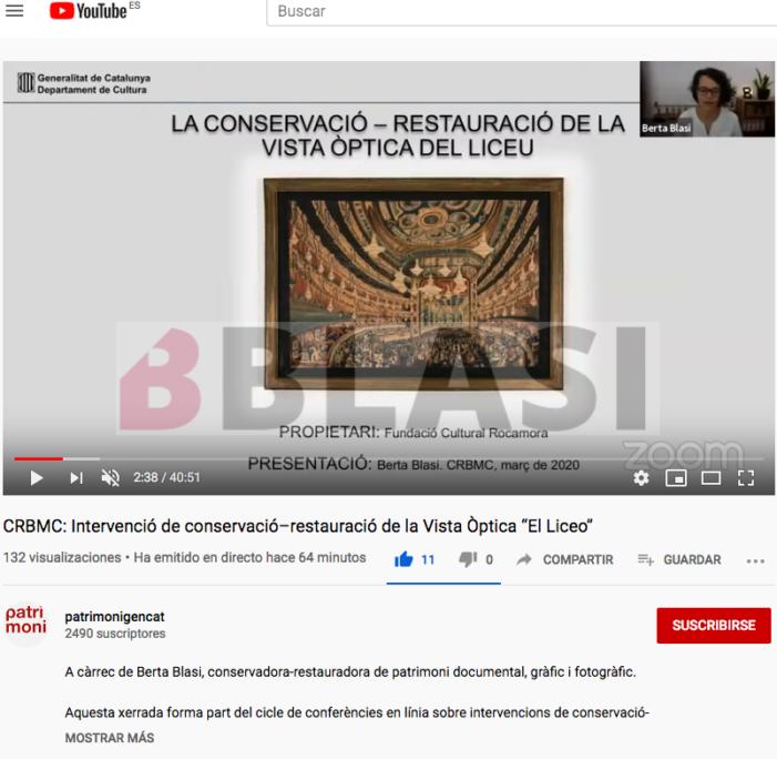 Conferència del procés de conservació - restauació de la vista òptica del Liceu