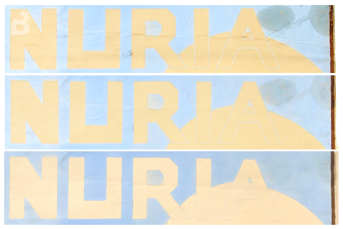 Tractament de taques de greix en un cartell del Santuari de Núria. A la imatge superior la taca abans de tractar, a la imatge del centre la taca després de tractar-se amb dissolvents. A la imatge inferior la taca després de tractar-la amb lipases aplicades amb gel d'agarosa.